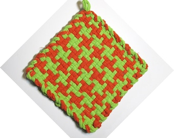Orange and Lime Hand Woven Large Cotton Potholders No.6