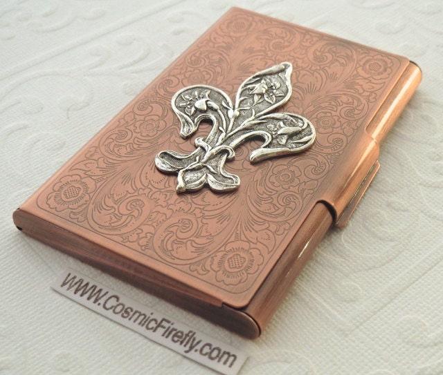 Copper business card case silver fleur de lis steampunk card for Steampunk business card holder