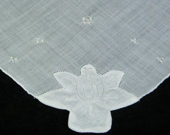 Vinrtage Hand Embroidered White on White Floral Brides Wedding Handkerchief, Hankie, Hanky -  9645