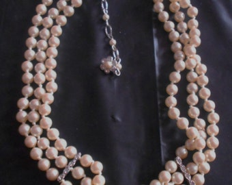 Monet Pearl Chocker Necklace Triple Strands