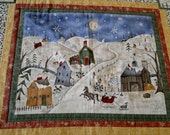 Winter Snowman Sleighride Scene Quilted Lap Rug