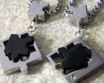 Couples Stainless Steel Puzzle Piece Necklaces