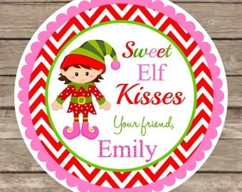 Stickers girl elf labels personalized labels elf kisses set of 12
