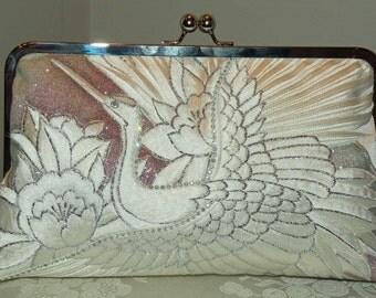 Handmade Rhinestone Crane Clutch/Bag/Purse/Long Island Bride/Wedding Gift/Bridal Silk Kimono/Orchid/White/Silver/Blush/Feathers/Shrug/Wrap