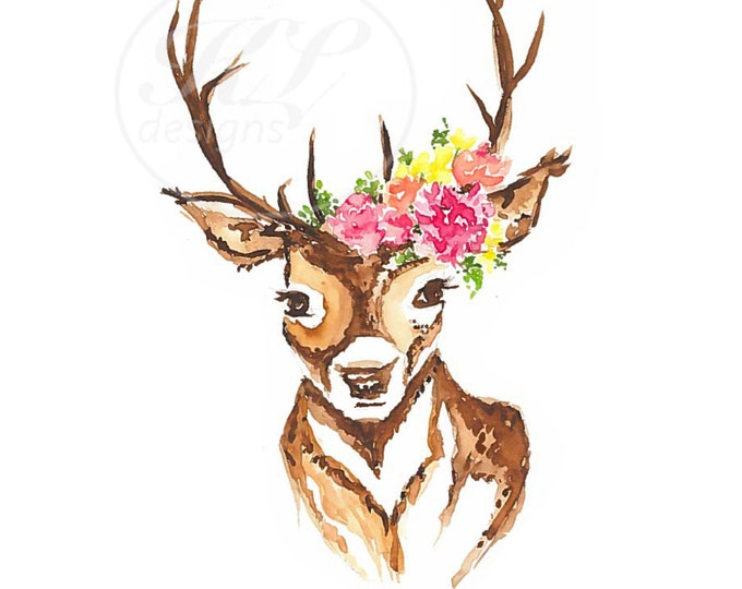 Be Lovely watercolor deer with floral crown