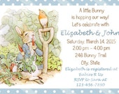 Little Peter Rabbit In the Garden Digital Baby Shower or Birthday Party Invitation, C-608 Your Choice