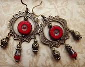 Brass gypsy earrings with red Czech glass beads, chandelier earrings, vintage inspired