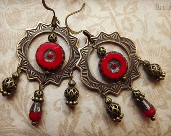 Brass gypsy earrings with red Czech glass beads, chandelier earrings, vintage inspired