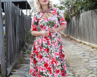 AUDREY DRESS - Full Pleated - Spring Fling - Vintage 40s 50s Dress Retro Pinup