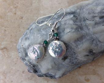 White Freshwater Pearl Earrings. Wedding Jewelry. Bali Silver & Emerald Swarovski Crystal. Beach Earrings. PA1