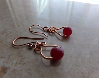 Copper Wire Worked Red Agate Drop Earrings