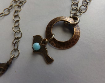 Hammered Brass Circle Bird Charm Necklace with Amazonite