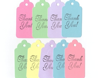 Pastel Thank You Hand Stamped Large Scallop Die Cut Hang Tags (Set of 9) Wish Tree Tags