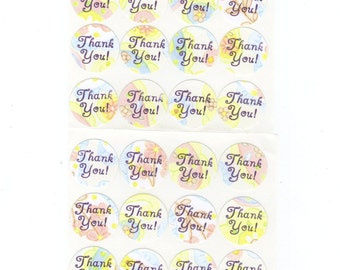 Thank You Envelope Seals Stickers (24) Package Decor / 1 Inch / (Set 2)