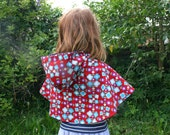 Reversible Hooded Cape - Purple Corduroy with Beautiful Floral Lining Size 1-3 Years