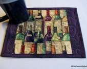 Bottles of Wine Quilted Mug Rug, Snack Mat, Mini Placemat