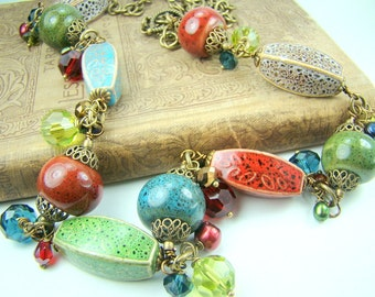 Long chunky necklace, ceramic bead necklace, jewel tones