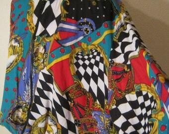 Vintage 80s multi print light jacket, dolman sleeve short bright medallion print jacket, size M  jacket by 1010 fun bright colors patterns