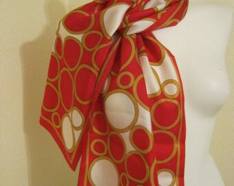 Vintage red gold ivory silk scarf, long narrow abstract pattern scarf, Oscar silk scarf, circle pattern red silk scarf