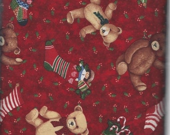 Red Teddy Stocking Toss (70149-327)  - BTY - South Seas
