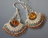 Orange Sapphires and Amber Earrings - Sunset