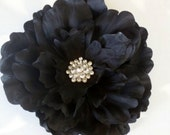 Boutique Rhinestone Jeweled Large Peony Hair Clip or Brooch Pin---BLACK----FREE SHIPPING