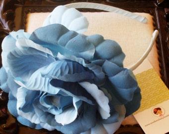 INVENTORY BLOWOUT SALE---Huge Rose Flower Headband---Dark Blue and Light Blue