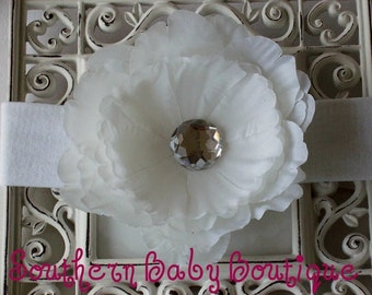 Steal of the Day-----Boutique Baby Girl Toddler Flower Headband-----Peony Princess----Pure White----