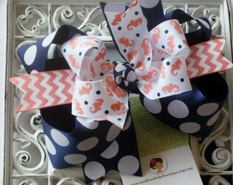 NEW----Big Boutique Triple Layered Hair Bow Clip---Fancy Seahorse---Peach and Navy Blue