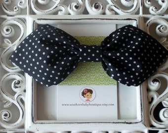 INVENTORY BLOWOUT SALE---Retro Fabric Bow----Black with White Dots----Ready to Ship----