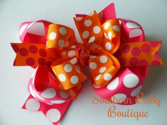 NEW----Big Boutique Doubled Layered Hair Bow Clip----Summer Splash----Shocking Pink and Tangerine Orange
