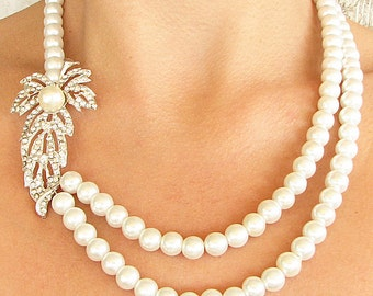 Bridal Jewelry Rhinestone Necklace Wedding Jewelry Bridal Necklace Statement Necklace Crystal Necklace Leaf Necklace