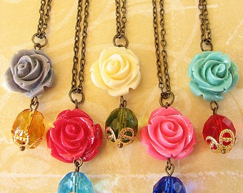 Pendant Necklace Flower Necklace Bridesmaid Gift Charm Necklace Rose Necklace