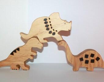 Natural wooden dinosaurs- set of three