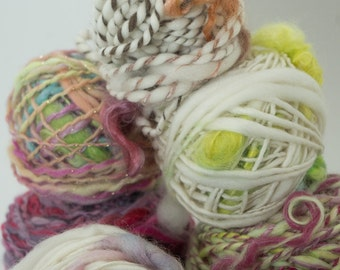 Handspun Art Yarn, Mini Skeins, Spin's Mix, various styles and fibers, 15 yards, Spin's choice of 5 mini skeins
