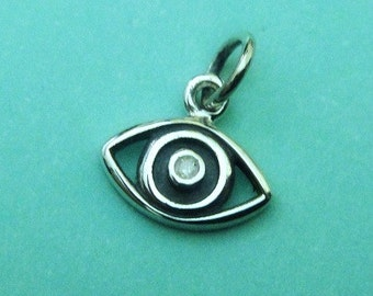 Sterling Silver Evil Eye Charm with 1 point Diamond,12x10mm