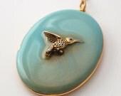Hummingbird Locket Necklace, Turquoise Enamel Jewelry, Gold Hummingbird Pendant, Unique Keepsake, Long Layering Necklace, Vintage Lockets