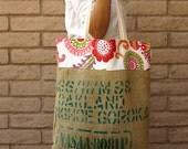 Coffee Bean Burlap Bag Tote with Bright Floral fabric trim