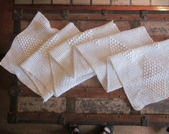 Xtra Long Antique Crocheted Lace Panel Runnner Remnant with Bobbles