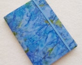 Batik Covered Pocket Memo Book, MONET , Refillable Mini Composition Notebook Cover in Blue and Green Marble Batik