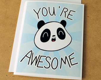 You're Awesome Panda Greeting Card - Blue, Thank You Card, Inspirational Art