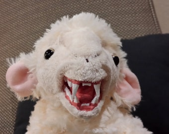 "Lamb Chomp! 10"" long White with Pink Ears Quality Plush Fanged Lamb"