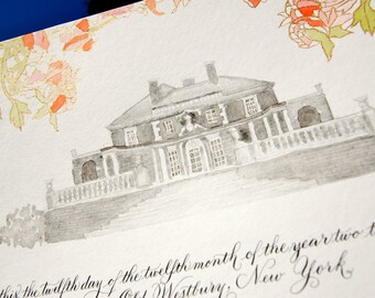 Custom Marriage Certificate featuring Hand Calligraphy, Watercolor Floral Design, and Watercolor Pencil Sketch of venue, quaker marriage