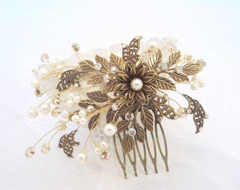Antique Brass Bridal hair comb, Wedding headpiece, Leaf hair comb, Swarovski crystal hair comb, Pearl headpiece, Vintage hair comb