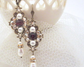 Vintage Bridal earrings, Pearl Wedding earrings, Bridal jewelry, Antique brass earrings, Swarovski crystal earrings, MARSALA earrings