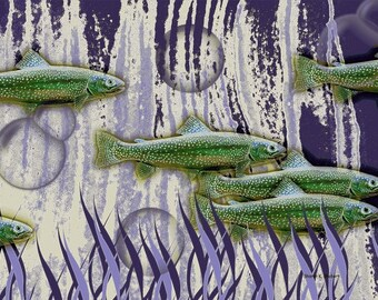 Swimming Fish Art, Trout Salmon, Aquatic Purple Green, Abstract Realism, River Underwater, Vector Graphics, Fauvism Wall Decor, Giclee Print