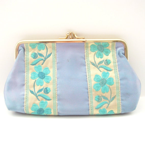 Blue Floral Clutch Purse Small Blue Satin Clutch By Flourisheshome