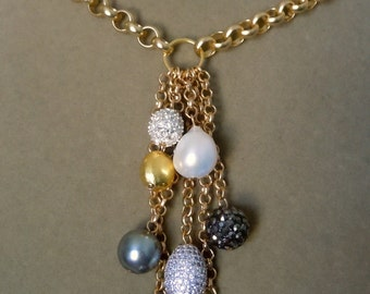 NEW City Night -- Baroque Pearl, Pave Beads, Swarovski Pearl Drop necklace
