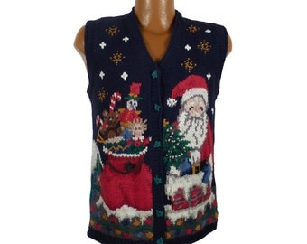 Ugly Christmas Sweater Vintage 1980s Tacky Holiday Cardigan Vest Party Women's size 14 / 16