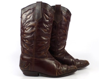 Brown Cowboy Boots Vintage 1980s Seychelles Leather women's size 6